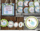 Fabulous Mini Birthday Party Package -Elephant -Baby Shower -Birthday-Banner -Tags -Cupcake Toppers -Party Sign -Blue Green Brown