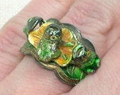 Antique Chinese Ring, Frog 3x, Green & Yellow Enamel, Very Old, Unisex. Size 7 1/2 (adjustable)