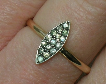 Art Deco Ring, English 9ct & Clear Pastes, Petite Navette Marquise. Anniversary, April Birthstone. Size 6 1/2