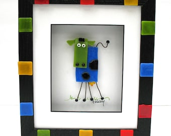 Whimsical fused glass cow shadowbox picture