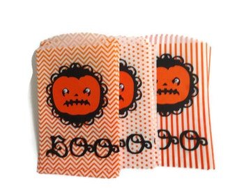 Large Halloween Pumpkin Favor  Bags, Orange Large Halloween Goody Bags, Treat Bags