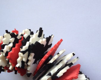 stylish bib necklace, plastic, red, white black, 80s style, OOAK, gift for her, statement necklace