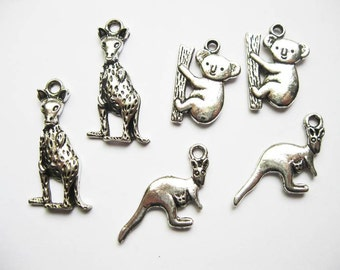 6 Animals of Australia Charms in Silver Tone - C821