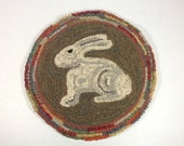 "Woodland Bunny Chair Pad or Table Mat Pattern, 14"" Round, J762"