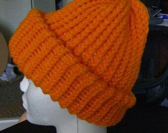 Blaze Orange Hunting Hat - SUPER THICK Knit Winter Teen & Adult Size Hat