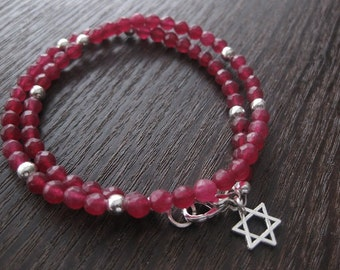 Jewish bracelet, star of David bracelet, ruby jewelry, red bracelet, wrap jewelry, ruby wrap gemstone,  red ruby bracelet, Jewish jewelry