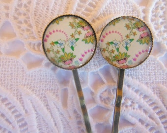 Cream Pink Lime Hair Clips Bobby Pins.