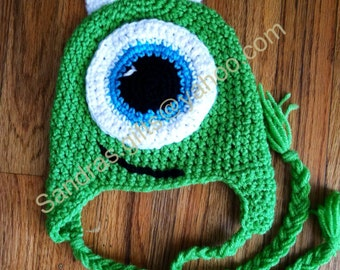 Monster crochet hat with ear flaps and braided tassel 0-kinder