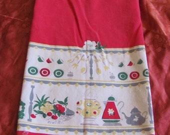"Vintage Red Cotton Kitchen Dish Towel 16"" x 25"""