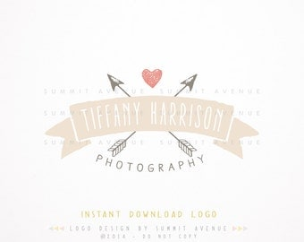 DIY - Crossed Arrows & Heart Premade Logo Design for Photography or Boutique INSTANT DOWNLOAD