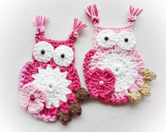 2  Big Crocheted Owls Appliques  (100%Quality Cotton)