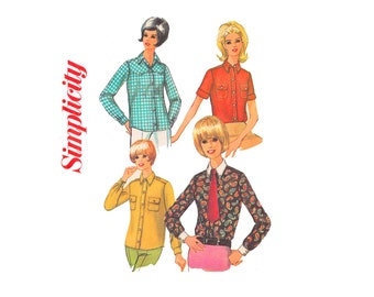 Misses Western Shirt Uncut Sewing Pattern 1960s Vintage Sewing Pattern Size 12 Bust 32 Simplicity 6929 Yoked front Top Country