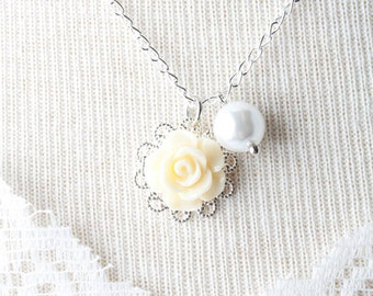 Yellow rose flower girl necklace - white pearl girl necklace - girl jewelry - yellow girl necklace - yellow wedding -flower girl jewelry