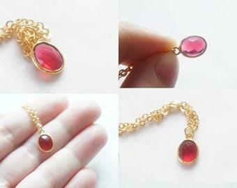 Red Oval Quartz Pendant Necklace - Gold Plated Bezel Gemstone Necklace - GS004