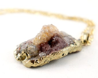OOAK Raw Druzy Necklace - Natural Agate Druzy Pendant Necklace - Sparkle Galaxy Druzy - DGN37