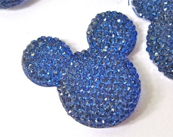 Blue Glitter Mouse Ears Resin Cabochons Embellishment Lot of 2