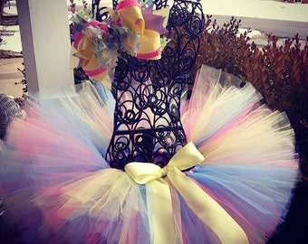 "Tutus ""Easter Eggstastic"" tutu and matching bow Listing Great for Birthdays, Photography Prop, and Dance"