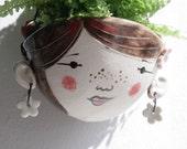 Ceramic hanging planter- Poppy hipster-garden ornament