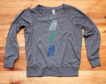 the three amigos Owl Pullover, Slouchy Top, Grey Pullover, S,M,L,XL