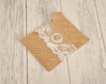 Wedding Favor, Photography Supply  Burlap and Lace CD Pouches  (Set of 5) You choose the Burlap Color