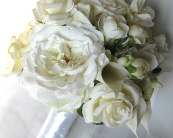 SALE ITEM!!! Bridal All White & Ivory Wedding Bouquet