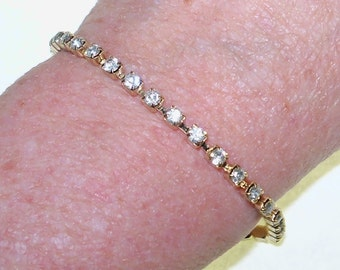 Tennis Bracelet Clear Rhinestones Gold Tone Vintage Jewelry Jewellery Wedding Accessories Cottage Chic Waldorf Gift Guide Women
