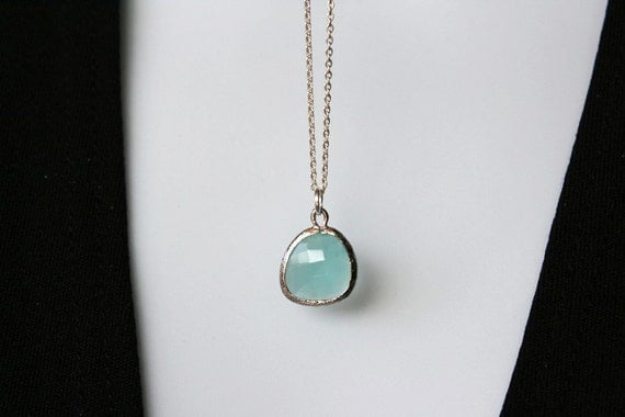 Teal Crystal Necklace in Sterling Silver - simple blue aqua green necklace, everyday wear, anniversary birthday mothers day gift for mom