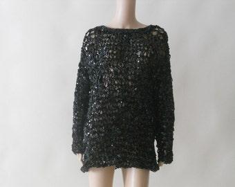 sequin black mini tunic net dress . small . medium