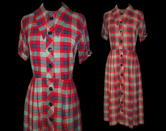 Vintage 1950s Dress . Mod Rockabilly Couture Plaid Femme Fatale Garden Party Mad Man New Look Vintage
