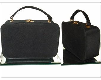 Vintage 1950s purse black faile handbag mad men rockabilly pinup garden party dress