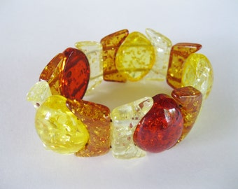 Lucite Amber Bracelet Stretch Chunky Oval Beads Vintage