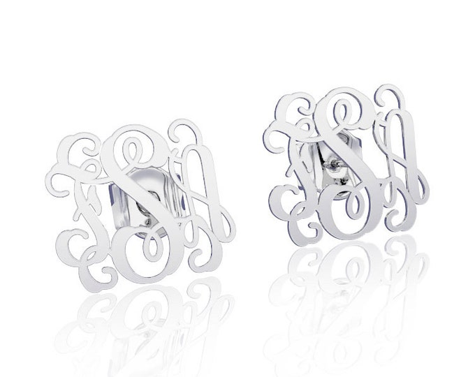 Monogram earrings Personalized Name Earrings -925 Silver, letter earrings initial earring, nameplate earring, bridesmaid earrings