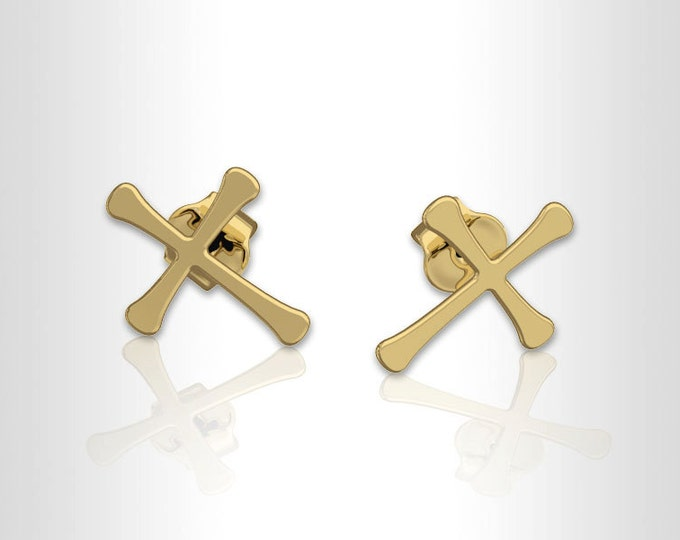 Cross Earrings -14k gold earrings, post Earrings, Bridesmaid Earrings, stud Earrings, gold earrings for women