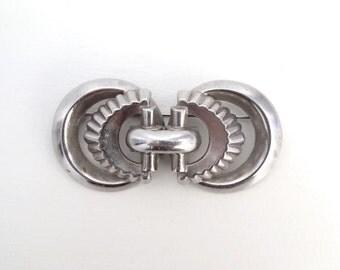 Vintage Art Deco Coro Brooch Pin Moderne Silver Tone Metal Bold Symmetrical 1930s Jewelry No Angle Coro Mark Double Circle Rare Coro Design