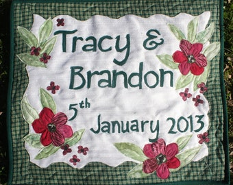 Custom made wedding or anniversary quilt wall hanging unique gift