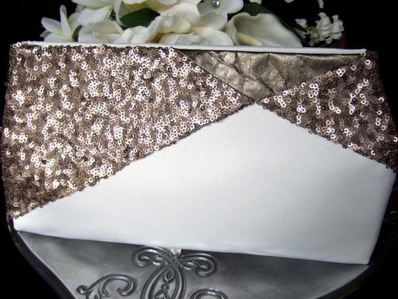 SALE * Ivory & Gold Sequin Bridal Clutch Purse / Art Deco Gatsby Wedding / Gold Wedding Dress Accessory * SALE