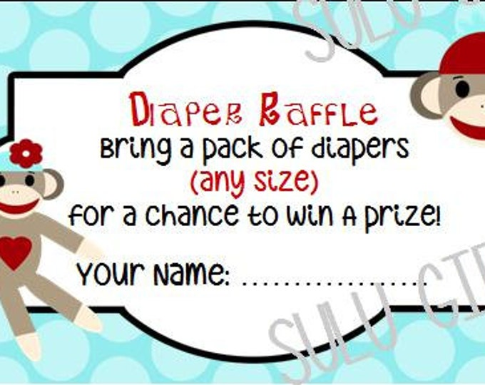 SALE Sock Monkey Blue Baby Shower Diaper Raffle ~ Instant Download Printable PDF File ~Blue Polka Dot Design Boy