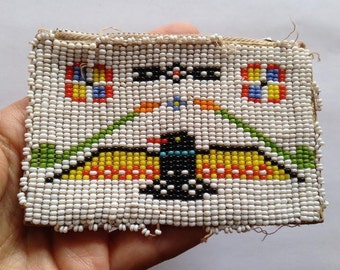Vintage Native American Hand beaded Leather Coin Pouch
