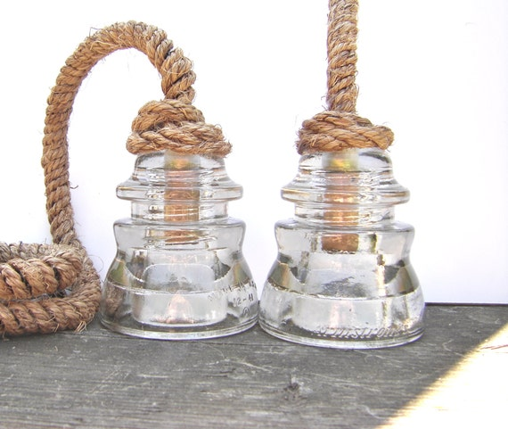 Pendant light rope cord : Upgrade antique rope cord for insulator by divinediscoveries