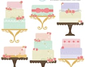 Floral Cakes Clipart Set - clip art set of cakes, vintage cakes, wedding, floral cake - personal use, small commercial use, instant download