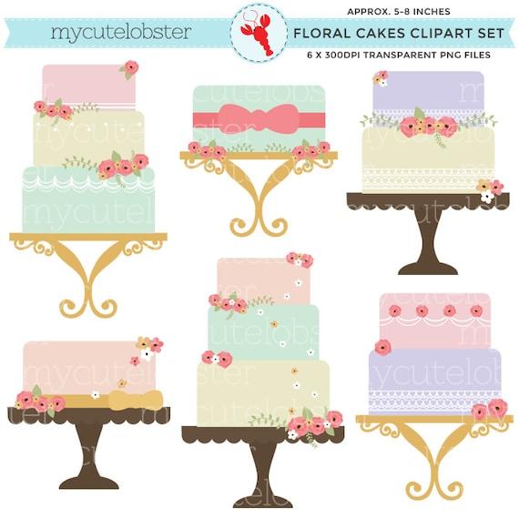 Floral Cakes Clipart Set clip art set of cakes vintage