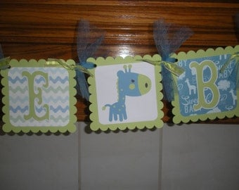 Baby Boy Banner, Baby Giraffe Banner, Welcome Baby BoyBanner, Baby Shower banner, Matching Tissue Poms Are Available