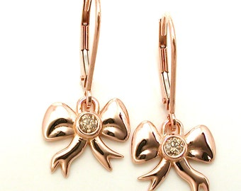 14k Rose Gold Bow Earrings with Champagne Diamonds - Ready to Ship
