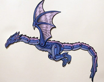 Wyvern Articulated Paper Doll - Sky Dragon Fantasy