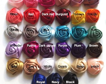 """20 piece grab bag - 1.5"""" satin rolled rosettes, flowers - WHOLESALE"""