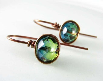 Wire Wrapped Earrings Copper Jewelry Blue and Green Earrings Wire Wrapped Jewelry Copper Earrings