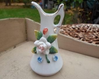 Vintage 1940s Porcelain Occupied Japan Miniature Pitcher Gold Trim Flowers Tiny Mini Deco