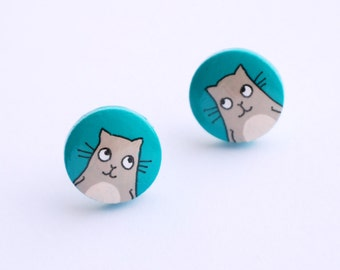 Turquoise studs with beige hand painted CAT