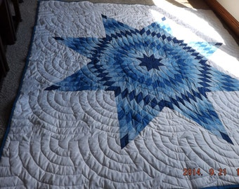 CLEARANCE SALE--Vintage Star Quilt, Machine Quilted, Blue on White