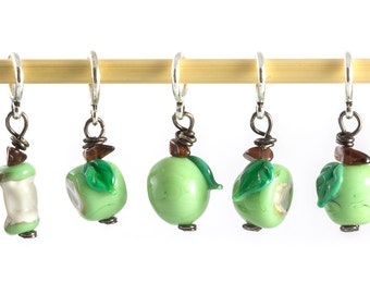 Knitting stitch markers set of five glass bitten granny smith green apples